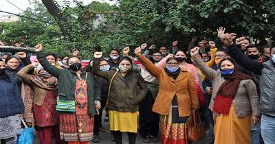 Postal workers protested by holding strike on various demands.