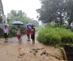 Cabinet Minister Joshi inspected the damaged road in Dhoran village.